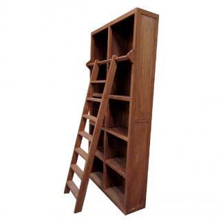 Teak Boekenkast met Ladder